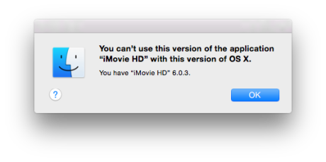 iMovie HD error message on Yosemite